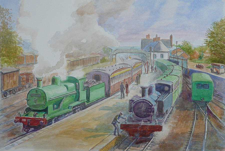 Ennis Train Station Circa1930 Painting  - Ennis Train Station Circa1930 Fine Art Print