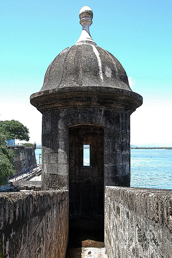 Entrance To Sentry Tower Castillo San Felipe Del Morro Fortress San Juan Puerto Rico Poster Edges Digital Art