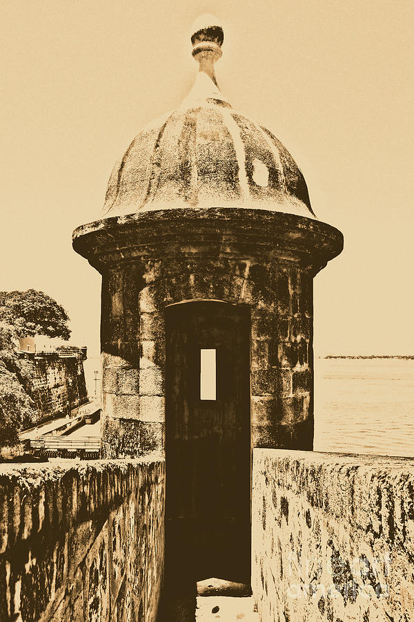 Entrance To Sentry Tower Castillo San Felipe Del Morro Fortress San Juan Puerto Rico Rustic Digital Art  - Entrance To Sentry Tower Castillo San Felipe Del Morro Fortress San Juan Puerto Rico Rustic Fine Art Print