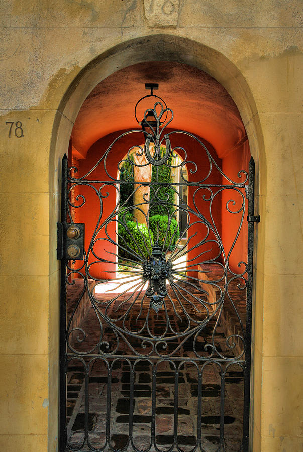 Gate Photograph - Entrance To Stucco Home by Steven Ainsworth