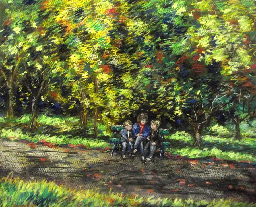 Eoin Miraim And Cian In Botanic Gardens Pastel  - Eoin Miraim And Cian In Botanic Gardens Fine Art Print