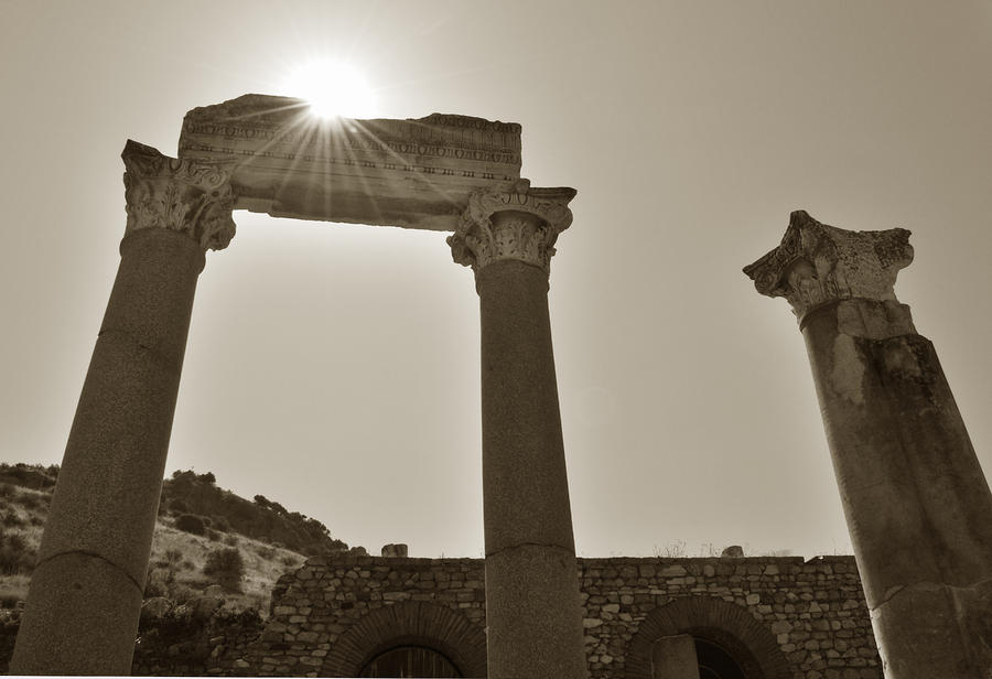 Sepia Photograph - Ephesus 2011 Ad by Terence Davis