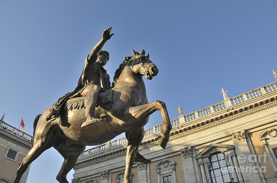 Equestrain Statue Of Emperor Marcus Aurelius In Piazza Del Campidoglio.capitoline Hill. Rome. Italy. Photograph  - Equestrain Statue Of Emperor Marcus Aurelius In Piazza Del Campidoglio.capitoline Hill. Rome. Italy. Fine Art Print
