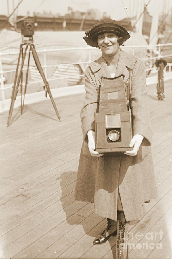 Erika Morini Holding Large Box Camera Photograph  - Erika Morini Holding Large Box Camera Fine Art Print