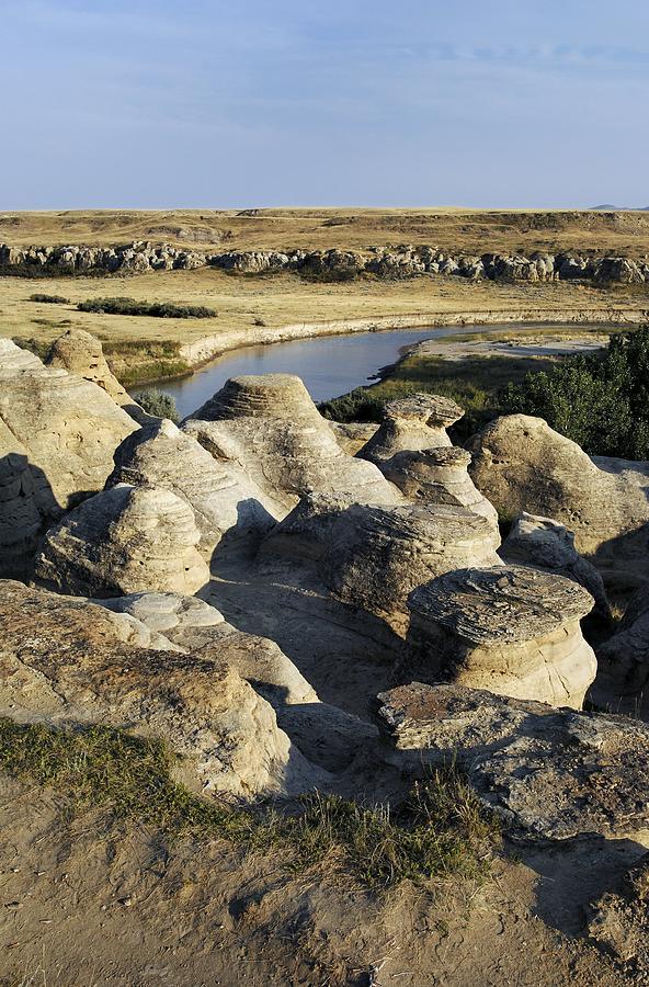 Sandstone Photograph - Eroded Sandstone Hoodoos, Alberta by Kaj R. Svensson