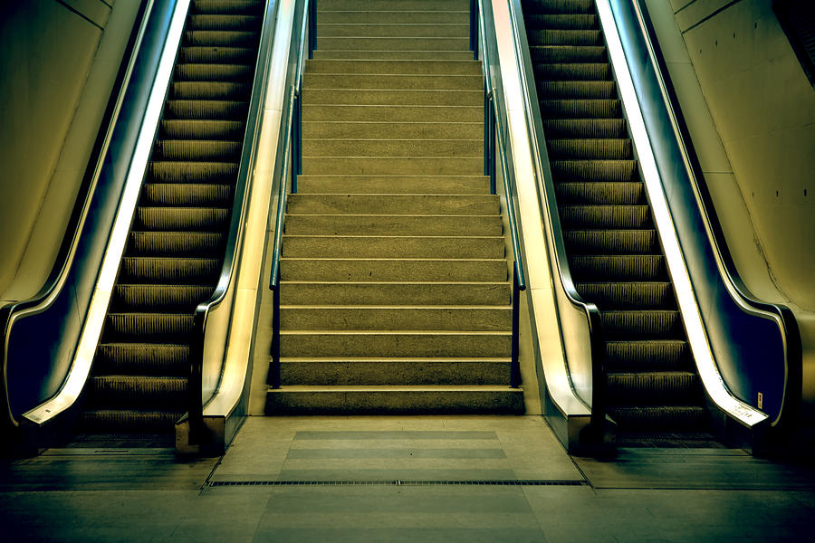 Escalators And Stairs Photograph