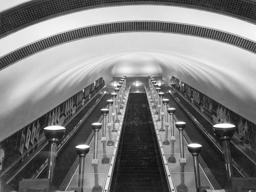 Escalators In A Tube Station Photograph