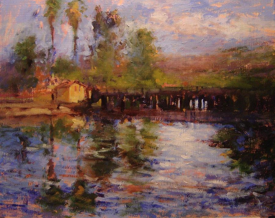 Pismo Beach Painting - Estuary At Pismo Beach by R W Goetting