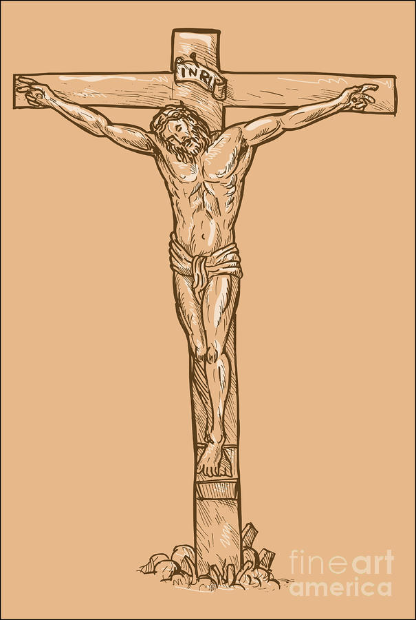 esus Christ hanging on the cross Digital Art  - esus Christ hanging on the cross Fine Art Print