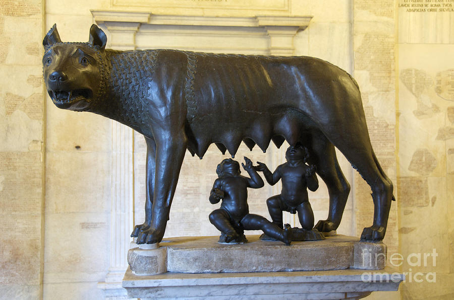 Etruscan Bronze Statue Of The She-wolf With Romulus And Remus. Capitoline Museum. Capitoline Hill. R Photograph