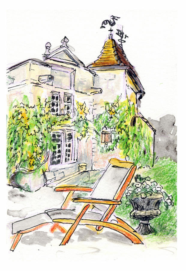 European Chateau Lounge Chair Painting  - European Chateau Lounge Chair Fine Art Print