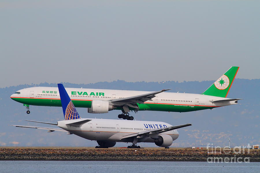 Eva Airways And United Airlines Jet Airplanes At San Francisco International Airport Sfo . 7d12256 Photograph