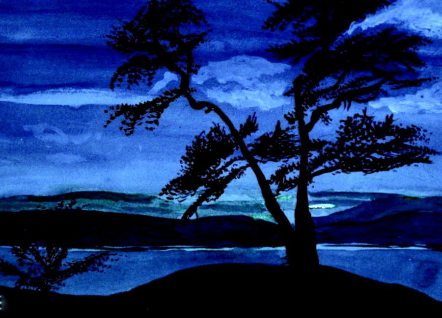 Evening Blue Painting  - Evening Blue Fine Art Print