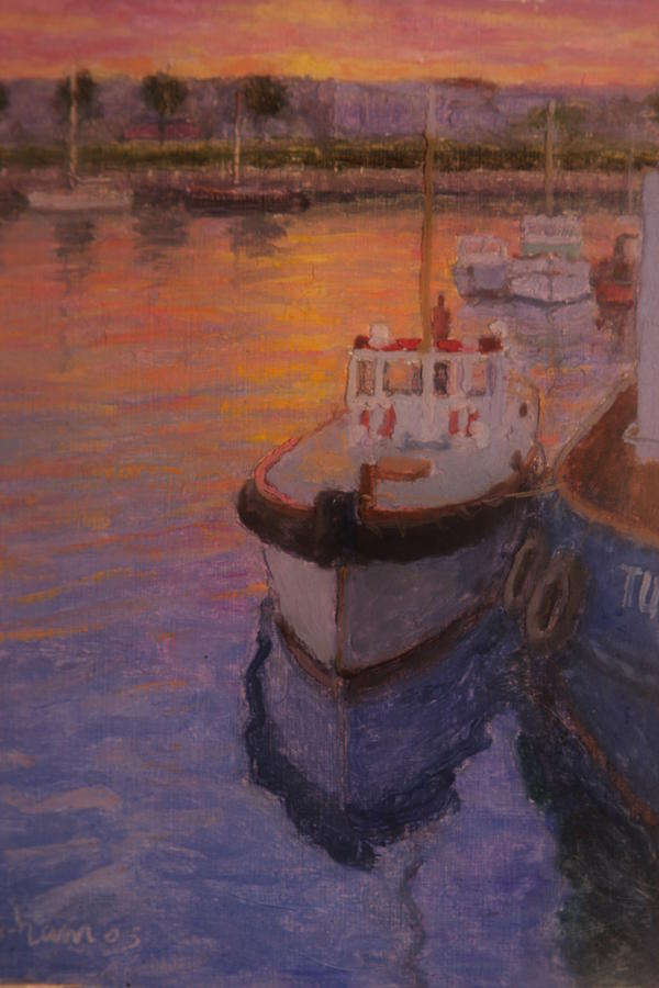 Evening Gisbourne Harbour Painting  - Evening Gisbourne Harbour Fine Art Print