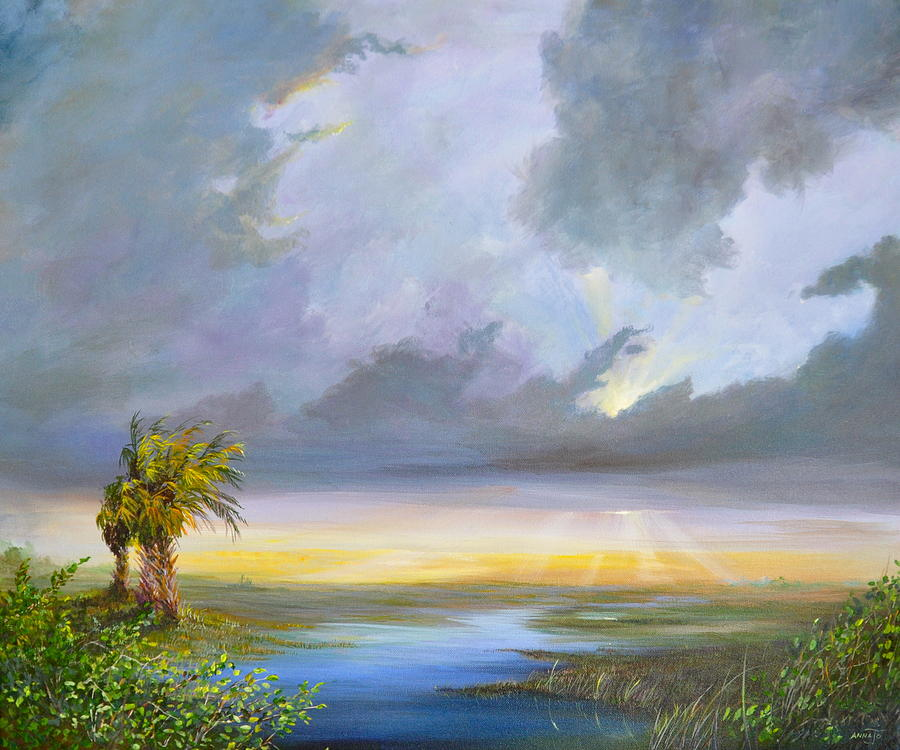 Landscape Painting - Evening Glow by AnnaJo Vahle