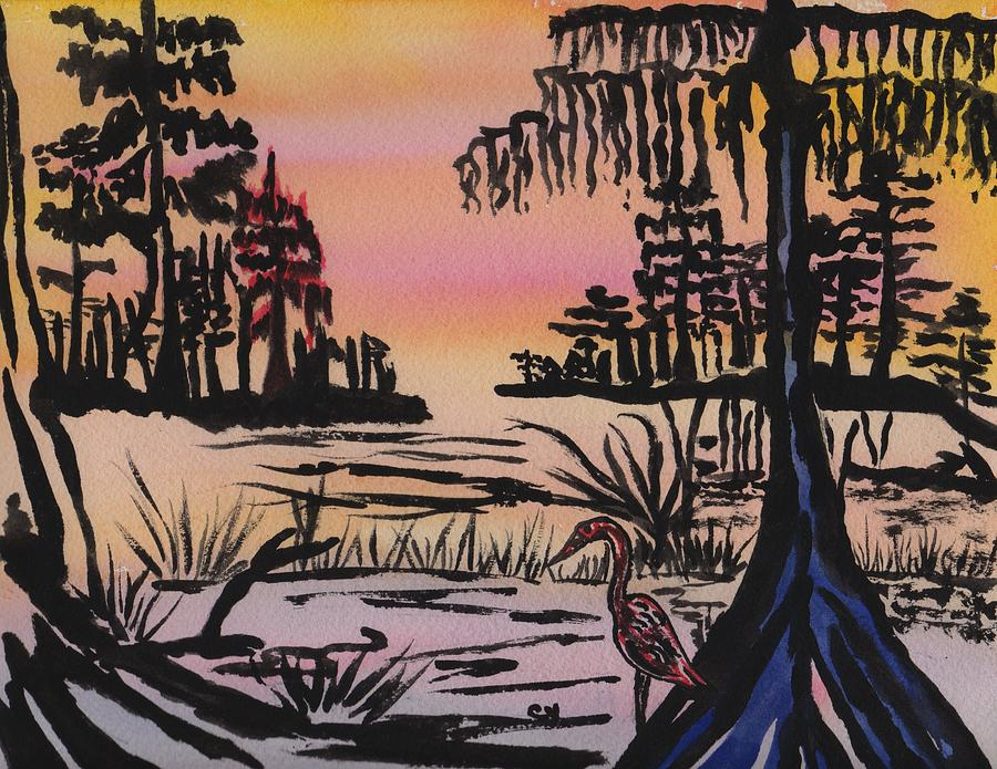 Evening In The Cyprus Trees Painting