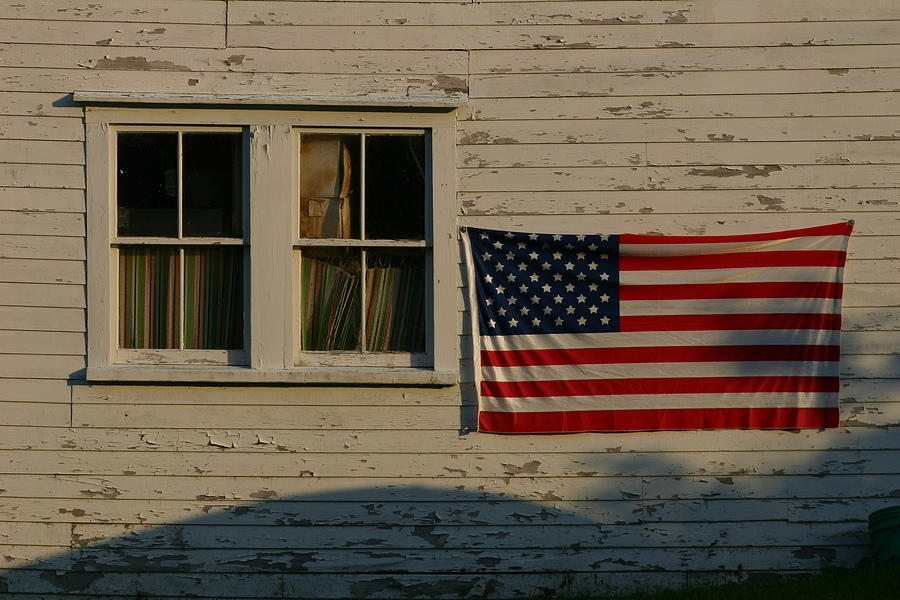 Evening Light On An American Flag Photograph