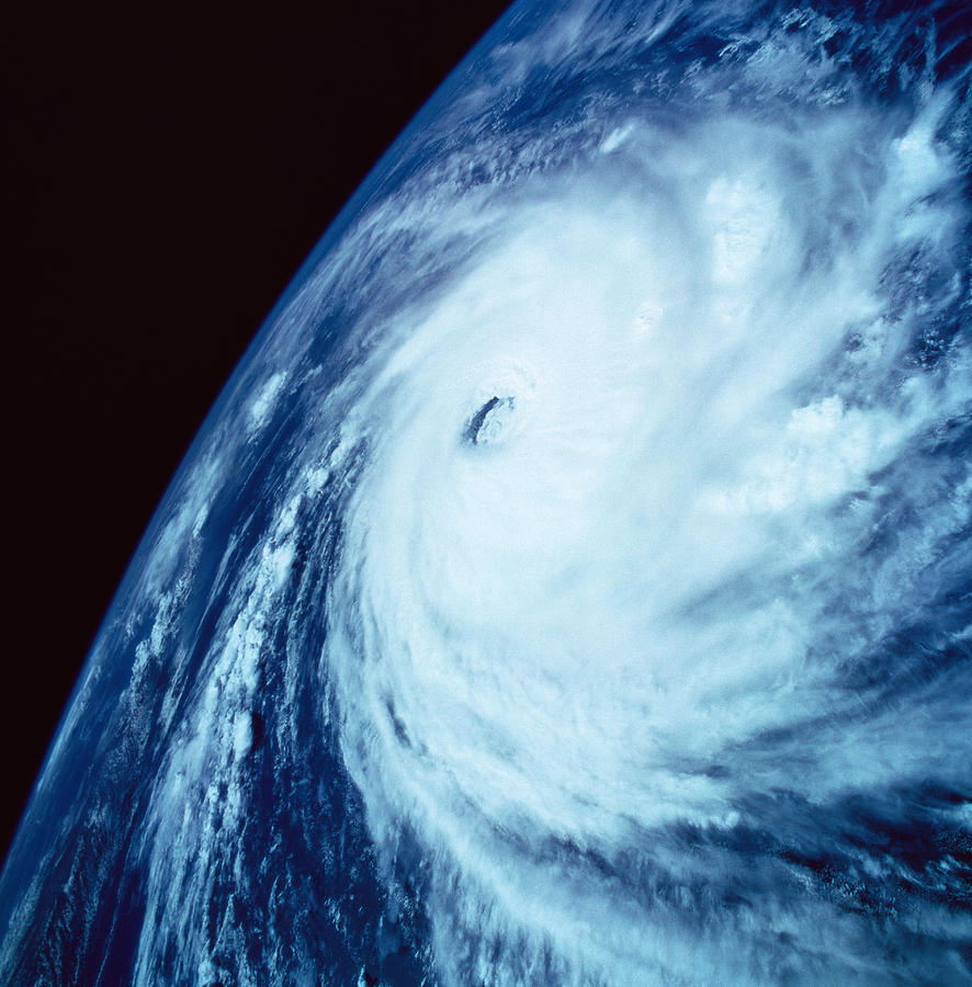 Eye Of A Storm Over Earth Viewed From Space Photograph  - Eye Of A Storm Over Earth Viewed From Space Fine Art Print