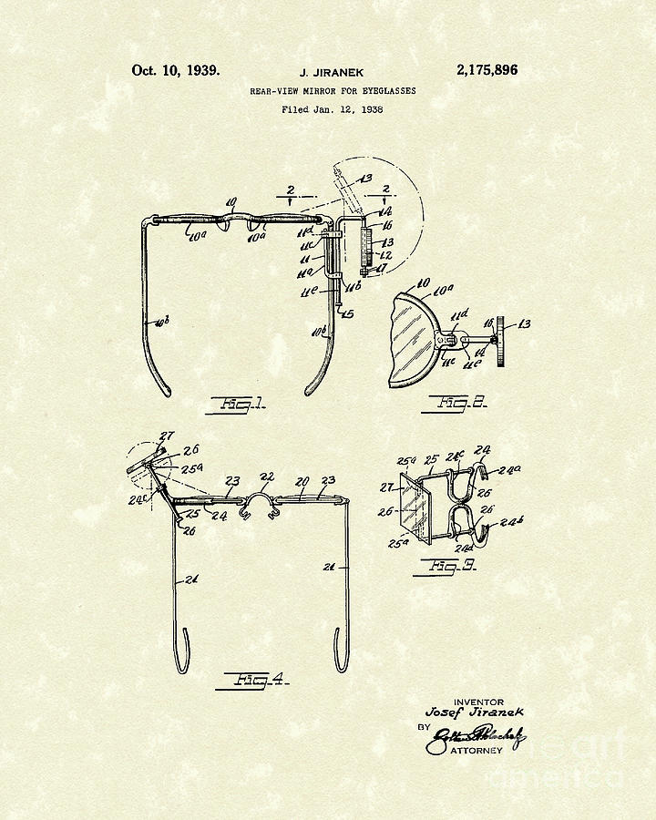 Eyeglass Mirror 1939 Patent Art Drawing