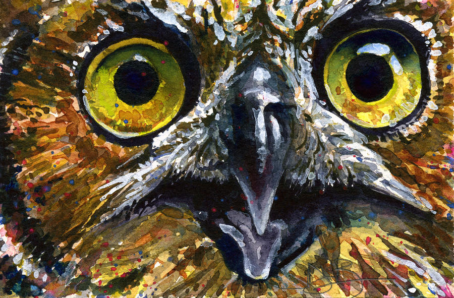 Eyes Of Owls No  11 PaintingOwl Eyes Paintings