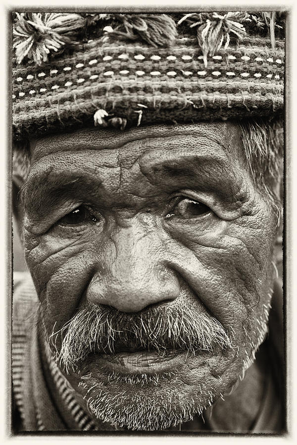 80-90 Yrs; Aborigine; Age; Aging; Art; Asia; Asian; Awe; Banaue; Close-up; Contemplation; Decor; Decoration; Detail; Fine Art; Glisten; Ifugao; Ifugao Province; Indian; Inspirational; Journey; Life; Loneliness; Male; Man; Memory; Milestone; Native; Old; One; Philippines; Photographic; Photography; Portrait; Reflection; Reverence; Spirituality; Toned; Toned Black And White; Tranquility; Travel Destinations; Tribal; Vertical; Weathered; World Heritage Sight; Worn; Wrinkled; Zen Photograph - Eyes Of Soul by Skip Nall