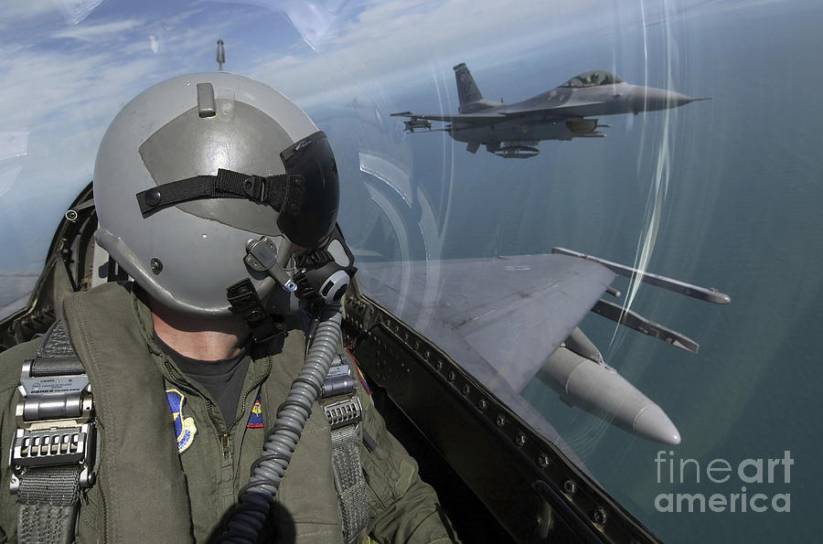 F-16 Fighting Falcons Flying Photograph