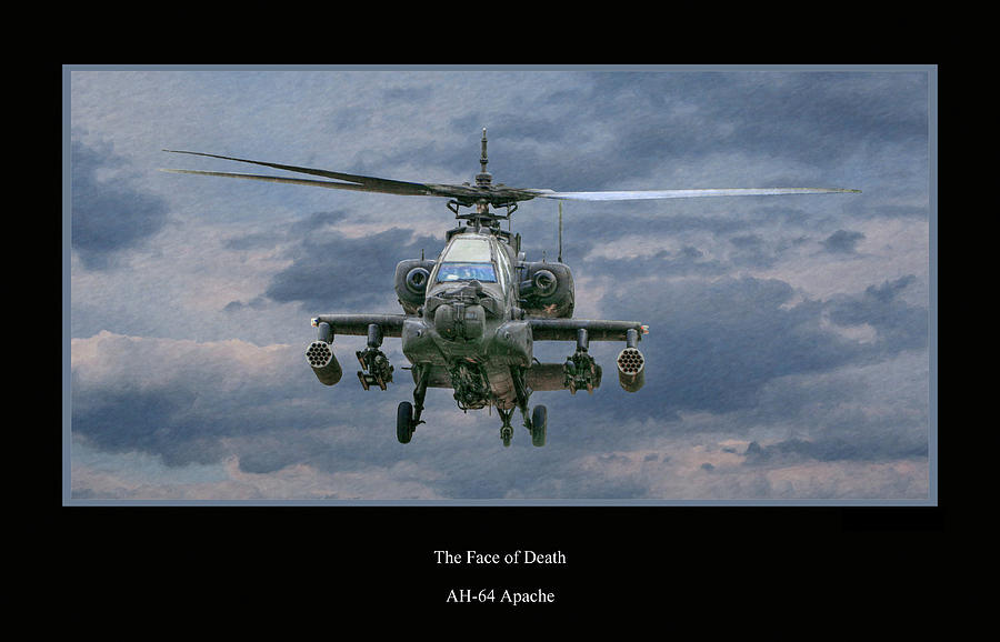 Face Of Death Ah-64 Apache Helicopter Digital Art  - Face Of Death Ah-64 Apache Helicopter Fine Art Print