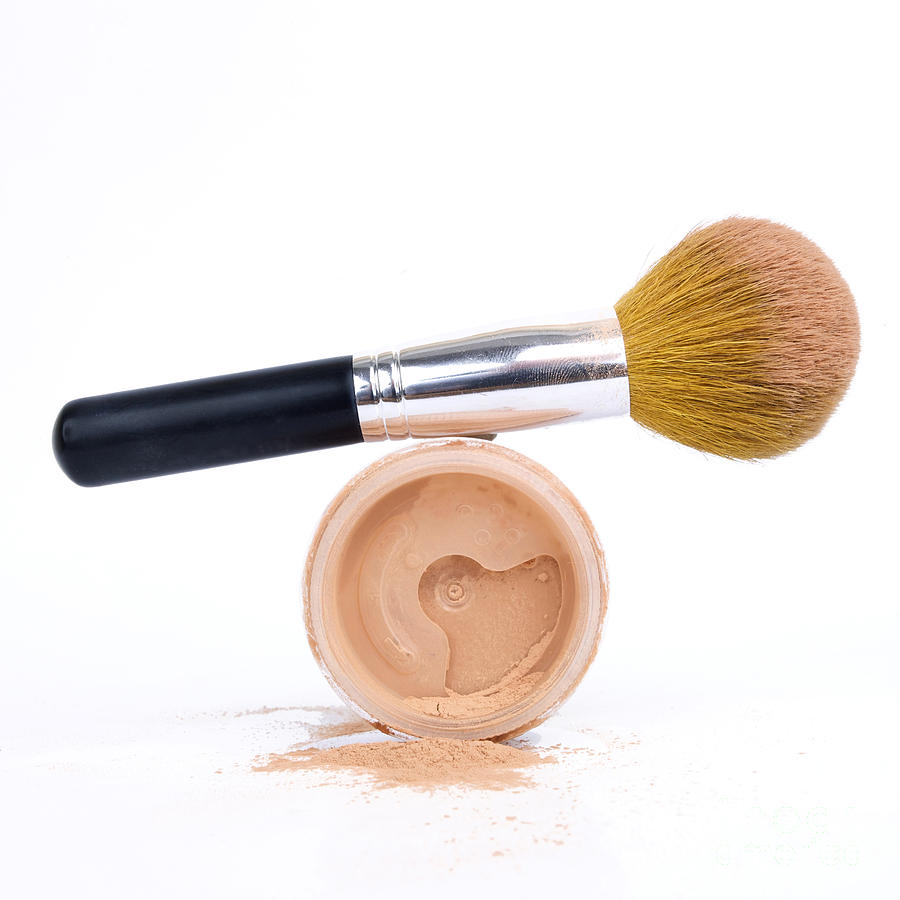 Face Powder And Make-up Brush Photograph  - Face Powder And Make-up Brush Fine Art Print