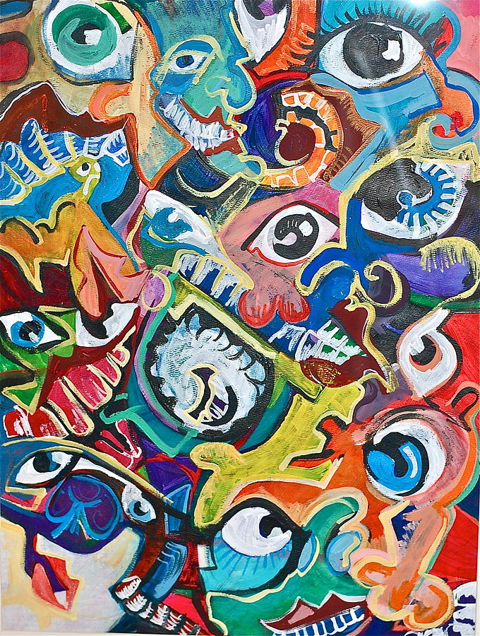 Faces In A Crowd Painting  - Faces In A Crowd Fine Art Print
