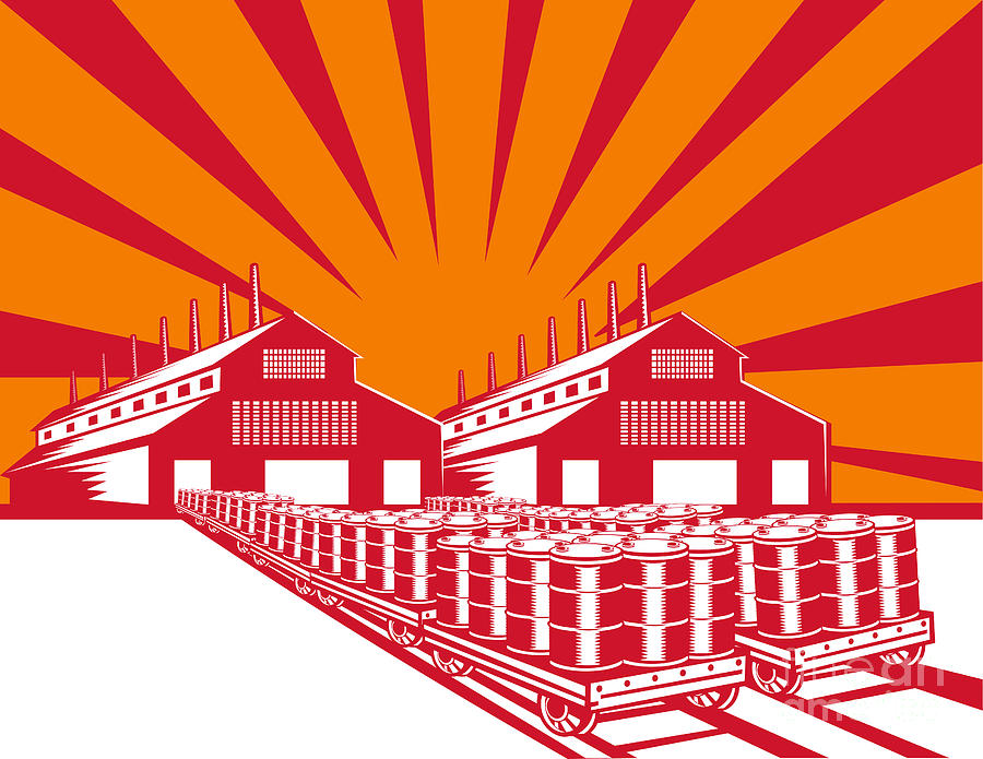 Factory Digital Art - Factory Building Oil Drum Barrel Retro by Aloysius Patrimonio