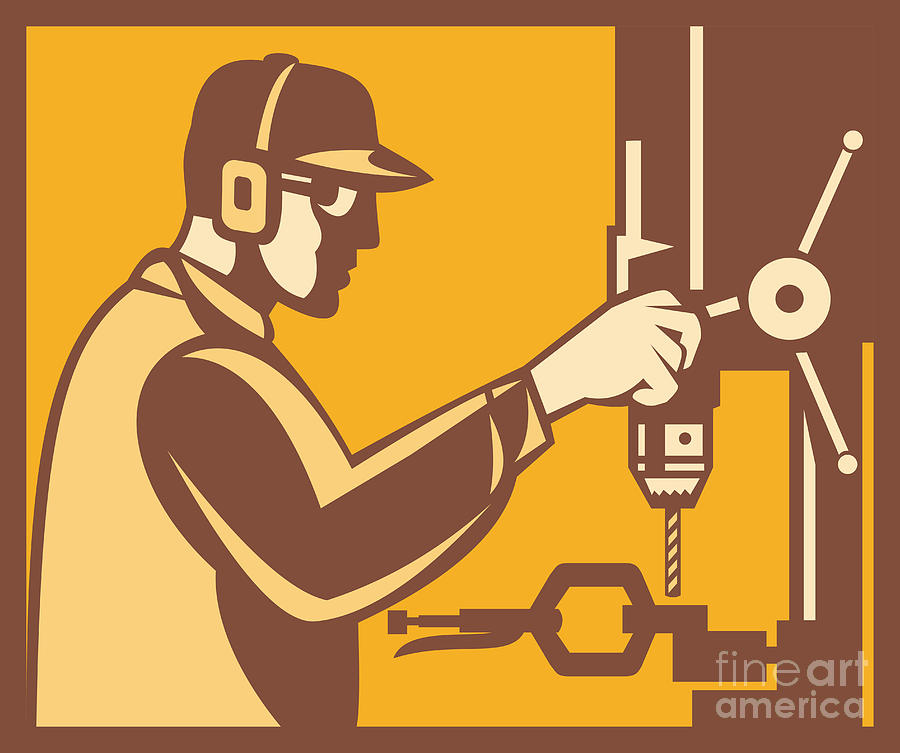Factory Worker Operator With Drill Press Retro Digital Art