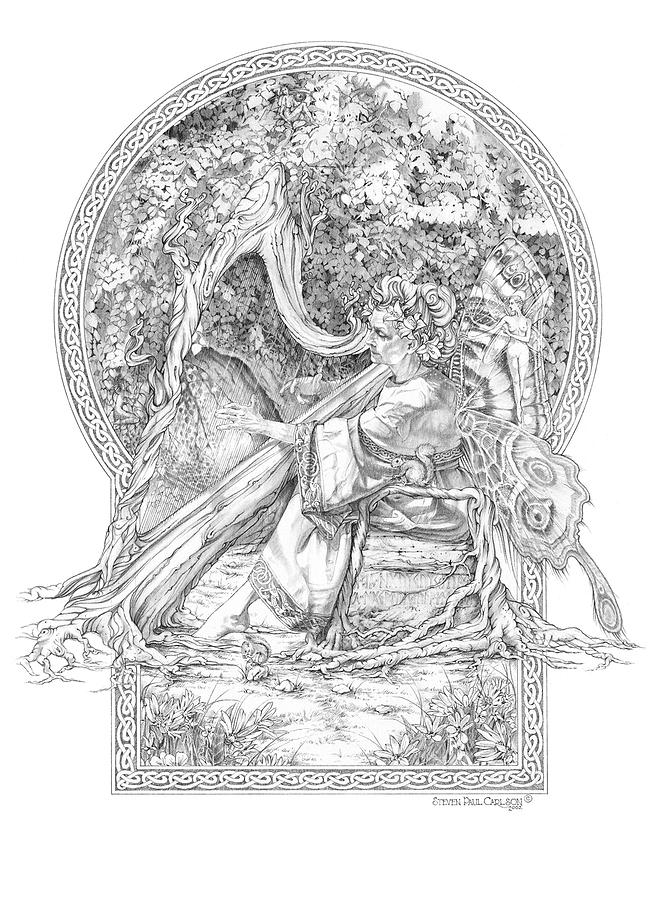 Faerie IIi - Woodland Opus - A Legendary Hidden Creation Series Drawing  - Faerie IIi - Woodland Opus - A Legendary Hidden Creation Series Fine Art Print