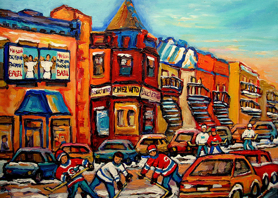 Fairmount Bagel With Hockey Painting  - Fairmount Bagel With Hockey Fine Art Print