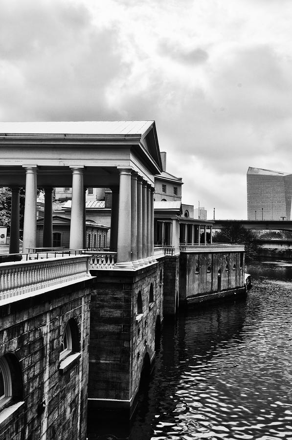 Fairmount Water Works In Black And White Photograph