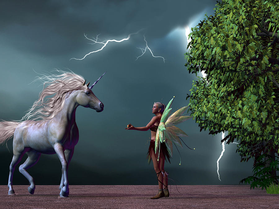 Fairy And Unicorn Painting  - Fairy And Unicorn Fine Art Print