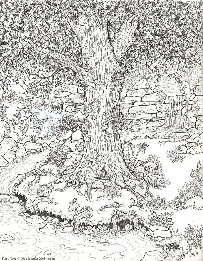 Fairy Tree Drawing By Jennifer Mcpherson Tree Coloring Pages For Adults