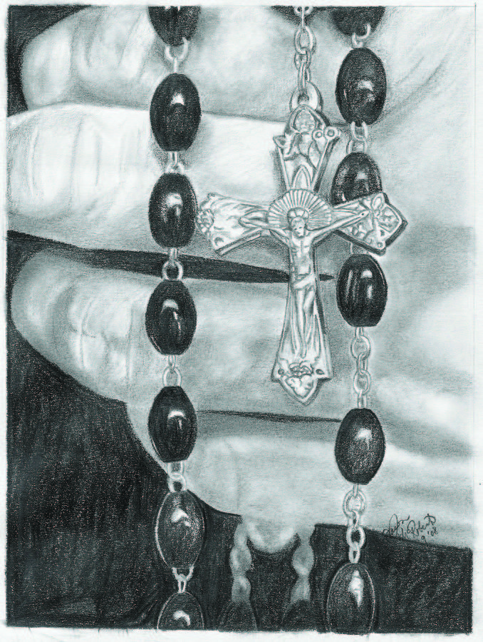 Cross and rosary drawings photo
