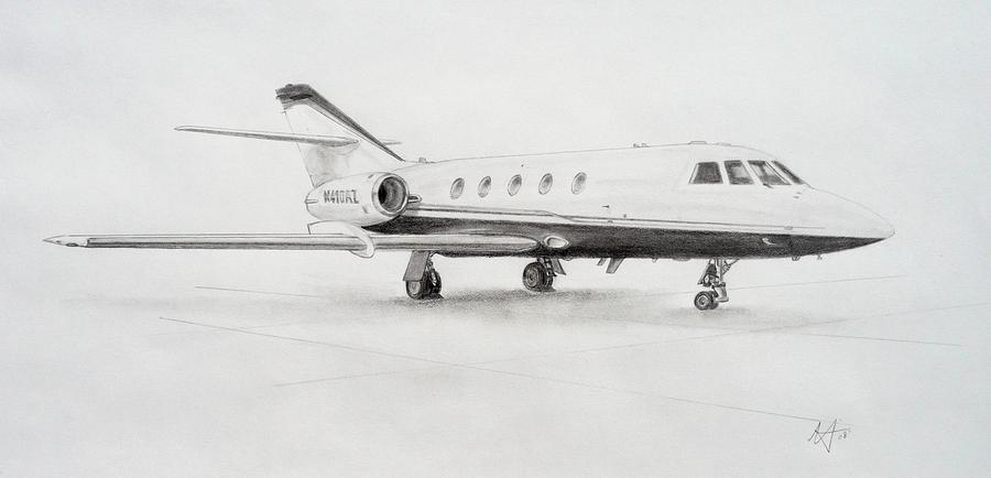 Falcon 20 Alone On The Ramp Drawing