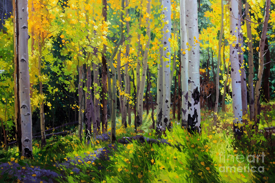 Fall Aspen Forest Painting  - Fall Aspen Forest Fine Art Print