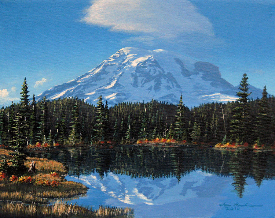 Fall At Reflection Lake Painting  - Fall At Reflection Lake Fine Art Print