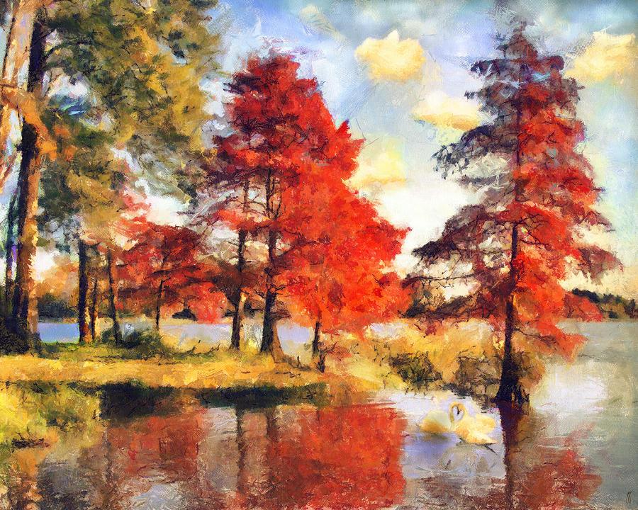 Lake Painting - Fall At Swan Lake by Jai Johnson