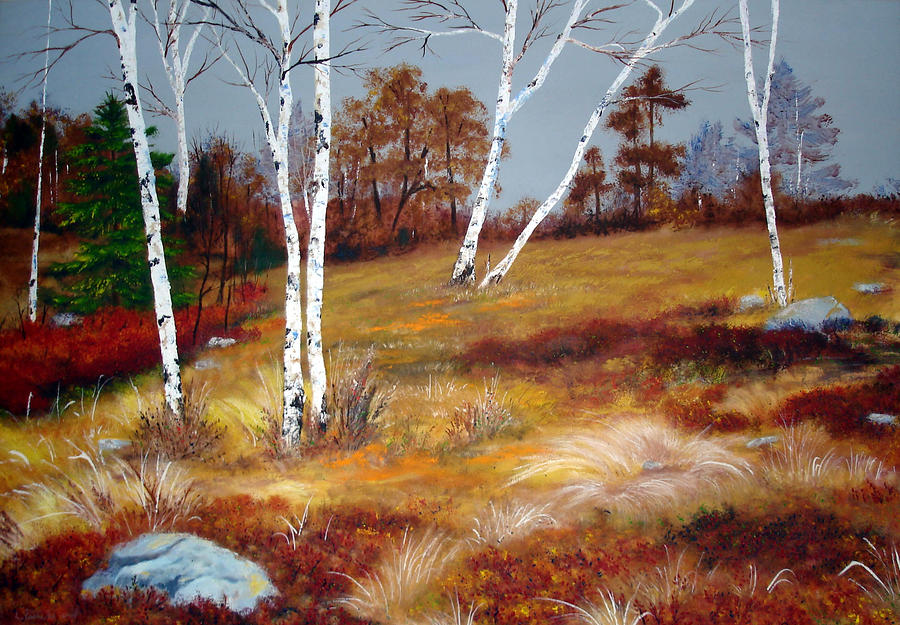 Fall Birch Trees And Blueberries Painting  - Fall Birch Trees And Blueberries Fine Art Print