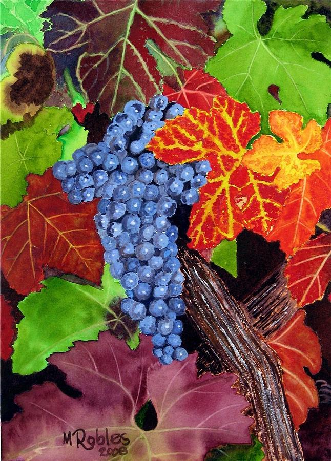 Fall Cabernet Sauvignon Grapes Painting  - Fall Cabernet Sauvignon Grapes Fine Art Print