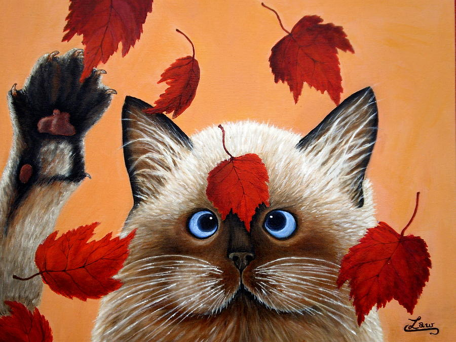 Fall Cat Painting  - Fall Cat Fine Art Print