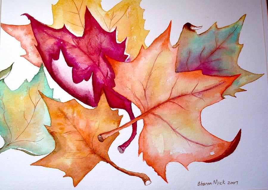 Fall Leaves Painting by Sharon Mick