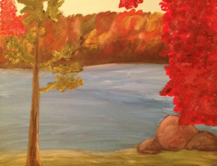 Fall On River Painting