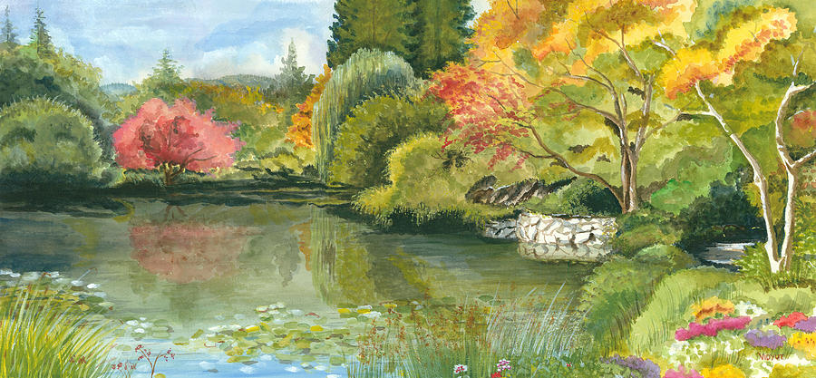 Fall Reflections Butchart Gardens Painting  - Fall Reflections Butchart Gardens Fine Art Print