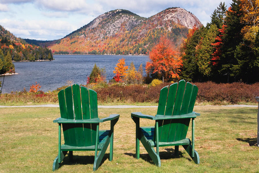 Fall Scenic With  Adirondack Chairs At Jordan Pond Photograph