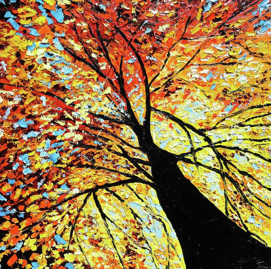 Fall Tree Oil Painting Painting  - Fall Tree Oil Painting Fine Art Print
