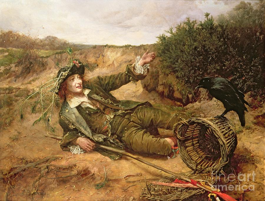 Peasant; Down And Out; Lying; Begging; Basket; Roadside; Hat; Peacock Feathers; Victorian; Outcast; Reject; Homeless; Vagrant; Beggar; Helpless; Raven; Illustration For Barnaby Rudge; By Charles Dickens Painting - Fallen By The Wayside by Edgar Bundy